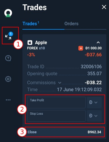 When the transaction is opened you can adjust SL and TP or close it manualy